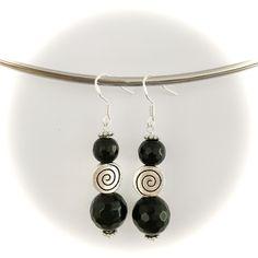 Handmade faceted black onyx swirl earrings made with sterling silver hooks Gemstone Earrings, Drop Earrings, Handmade Items, Handmade Gifts, Black Onyx, Hooks, Gemstones, Sterling Silver, Trending Outfits