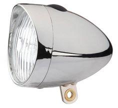 Framlampa med 1 st led-lampa. Kromad klassisk modell. Inklusive batterier.