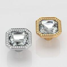 Sparkle Glass Knobs / Crystal Dresser Drawer Knobs Pulls Handles Gold Silver…