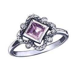 Sterling Silver Genuine Amethyst Ring with CZ Accents - The ring I WANT for my wedding ring but a PRINCESS CUT Diamond in the middle -  I love out vintage the design is -KT