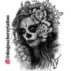 Tattoo Femininas Ideas Sugar Skull 19 Ideas For 2019 Chicano Tattoos, Leg Tattoos, Body Art Tattoos, Girl Tattoos, Sleeve Tattoos, Sugar Skull Girl Tattoo, Girl Face Tattoo, La Catarina Tattoo, Day Of Dead Tattoo