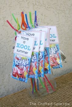 "The Crafted Sparrow: Have a ""Kool"" Summer - End of Year Goodbye Gift for My Students.the kids loved these as end of year gifts! School Treats, School Gifts, Student Gifts, Teacher Gifts, Student Treats, Daycare Gifts, Teacher Treats, School Snacks, Teacher Stuff"