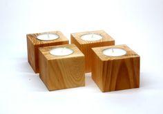 Wooden tea light candle Holder set of 4 / Unpainted pine wood tea lights holder / DIY kit for Valentine's decor / Rustic candle holder