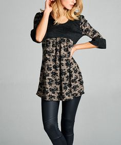 Another great find on #zulily! Black & Mocha Floral Tunic #zulilyfinds