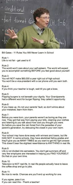 Bill Gates - 11 Rules You Will Never Learn In School.