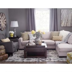 Decorating with grey walls living room decorating with grey walls living room ideas for gray and beige plan home decor grey walls living room Dark Living Rooms, Grey And Yellow Living Room, Living Room Furniture, Living Room Paint, Grey Walls Living Room, Grey Walls, Home Decor, Living Room Grey, Living Room Decor Gray