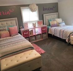 Shared girls room - Super Creative teenage girl bedroom ideas in blue just on omah home design Twin Girl Bedrooms, Sister Bedroom, Girls Bedroom, Bedroom Decor, Twin Girls, Twin Bedroom Ideas, Bedroom For Twins, Nursery Ideas, Warm Bedroom