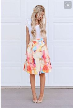 ---Stitch fix spring/summer 2016 2017 outfit ideas. Floral watercolor skirt nude pumps. Try stitch fix subscription box :) It's a personal styling service! 1. Sign up with my referral link. (Just click pic) 2. Fill out style profile! Make sure to be specific in notes. 3. Schedule fix and Enjoy :) There's a $20 styling fee but will be put towards any purchase! #sponsored