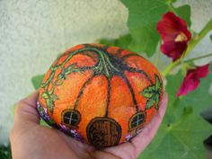 Rock painting (fairy garden pumpkin house)