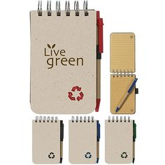 Handy Note Taker! Promotional Eco-Rich Spiral Jotter & Pen | Customized EcoFriendly Notebooks | Promotional EcoFriendly Notebooks