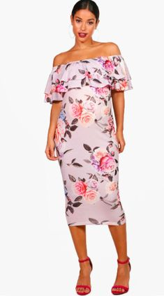 I love this off the shoulder floral maternity dress! Only $20!   Click this pin to find it at boohoo.com.   Maternity Nina Off The Shoulder Ruffle Dress   maternity dress   maternity fashion   maternity clothes   maternity style   floral maternity   spring maternity   summer maternity   pregnancy   bump   #affilaite #maternitydress