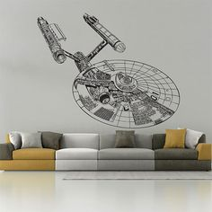 Star Trek , USS Enterprise NCC 1701 , Wall Decal, Wall Sticker, Wall Tattoo , Wall Art , Home Decal
