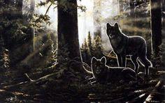 Artist Andrew Kiss black wolf art print BLACK WATCH | WildlifePrints.com