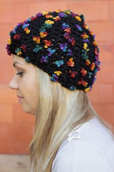 Crocheted Hats – Black butterfly Crochet hat, chunky beanie, hats – a unique product by streetstyleknits on DaWanda