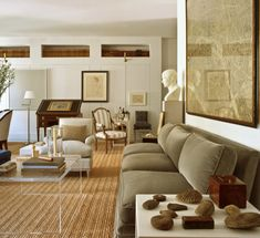 A classic, understated mix in the previous home of interior designer Bruce Budd brings to mind the homes of Bill Blass.