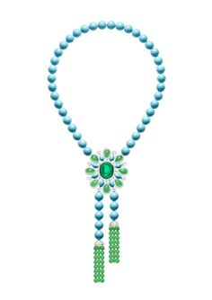 Piaget Necklace in 18K white gold set with 46 turquoise beads, 48 chrysoprase beads, 1 emerald-cut cabochon, 8 pear-shaped chrysoprases, 8 pear-shaped turquoise and 388 brilliant-cut diamonds.