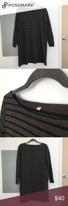 MUJI Japan striped sweatshirt dress Effortless sweatshirt dress with side pockets from MUJI. 100% cotton. Japanese size M (closer to American size XS/S). Worn once, excellent condition. Muji Dresses Long Sleeve