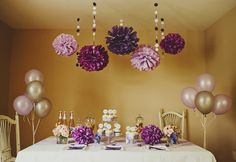 Purple Party & Shower DIY Decoration Package (PomPoms, Garlands, Cupcake Deco, etc.). $84.95, via Etsy.