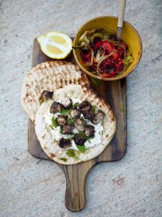 Souvlaki (Wicked kebabs) with tzatziki and grilled peppers | JamieOliver.com