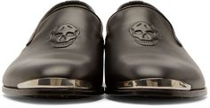 Alexander McQueen Black Leather Skull Loafers