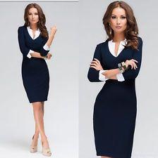 Mujeres de moda con cuello en V vestido Mujer Vestido De Mujer Casual de trabajo de oficina Wear Dress