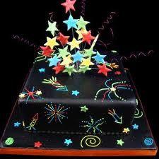 firework cake - Google Search Bonfire Night Cake, Bonfire Parties, Bonfire Night Party Decorations, Fireworks Cake, 4th Of July Cake, July 4th, December, New Year's Cake, London Cake