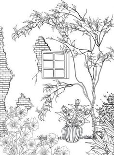 Ideas For House Tree Drawing Wall Art Adult Coloring Book Pages, Free Printable Coloring Pages, Colouring Pages, Coloring Sheets, Coloring Books, Easy Drawings, Doodle Art, Embroidery Patterns, Prints