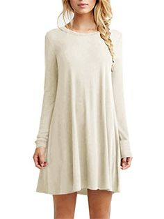 56a2c0c9d06 TINYHI Women s Casual Plain Flowy Simple Swing T-shirt Loose Dress at Amazon  Women s Clothing store
