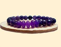 Amethys Bracelet, Purple Bracelet, 8mm Beads Bracelet, Unisex, Handmade, Natural Stones, Virgo, Sagittarius, Capricorn, Aquarius, Pisces de ArtGemStones en Etsy