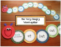 """The Very Hungry Caterpillar activities: FREE The Very Hungry Caterpillar """"word-apillar"""" craft. You can use any word list to make one. Packet includes an """"At-erpillar"""" for the -at word family. Great for spelling words, Dolch, CVC, Contractions, students' names etc."""