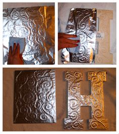 Antiqued Foil Monograms diy antiqued foil monograms/wall art - glue pattern over canvas and cover with aluminum foil.diy antiqued foil monograms/wall art - glue pattern over canvas and cover with aluminum foil. Cute Crafts, Crafts To Make, Arts And Crafts, Diy Crafts, Tin Foil Crafts, Aluminum Crafts, Wood Crafts, Diy Projects To Try, Art Projects