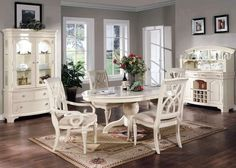 Formal Dining Room 7 Piece Set Oval Table Chairs White
