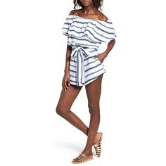 Women's Faithfull The Brand Lane Off The Shoulder Romper ($139) ❤ liked on Polyvore featuring jumpsuits, rompers, waves stripe print, playsuit romper, striped rompers, striped romper, off shoulder romper and cotton rompers