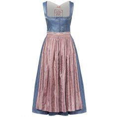 "Light blue silk Dirndl with pink apron by Lena Hoschek Tradition ""Filippa Dirndl"" Dirndl Blouse, Dirndl Skirt, Traditional Jacket, Traditional Dresses, Pink Apron, Ribbon Skirts, Gathered Skirt, Couture Dresses, Rock"