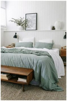 beach home decor casual bedroom design // sea foam and white bedroom design // shiplap walls // mid-century modern shelves Bedroom Green, Home Bedroom, Master Bedrooms, Master Suite, White Bedrooms, Linen Bedroom, Bedroom Signs, Earthy Bedroom, Green Bedding