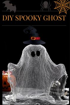 Make a cute ghost with cheesecloth and school glue!  #diy #halloween #ghost #cute #spooky #creative #arts #crafts #kids #parenting #crafty