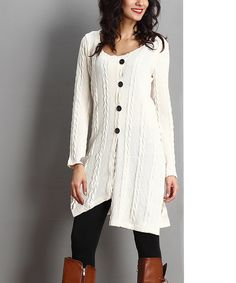 Look at this Winter White Cable-Knit Button-Front Dress   It would be a perfect w/leggings for the holidays!❄️⛄️
