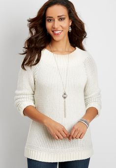 pullover sweater with metallic stitching (original price, $39.00) available at #Maurices