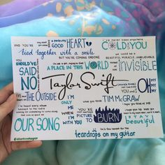 Taylor Swift by Taylor Swift album lyrics, hand drawn by http://allaroundtaylor.tumblr.com/.