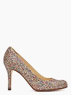 Shinny and colorful! Reminds me of Louboutin's peep toe #pump #katespade #weddingshoes