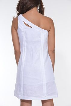 One Shoulder guayabera for Ladies. sexy Guayabera Dress. - Ladies Guayabera One Shoulder Dress.Sexy Delicate wash. Hand wash. Dry Clean for best result Available in White. Size Chart available