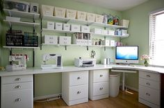 Wrap around desk ideas perfect for my sewing room/craft room/ office Sewing Spaces, My Sewing Room, Sewing Rooms, Sewing Room Organization, Craft Room Storage, Organizing Paperwork, Craft Room Shelves, Ikea Craft Room, Budget Organization