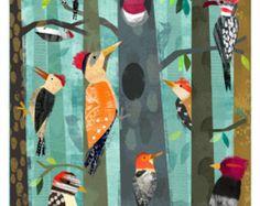 Pájaros carpinteros 11 x 14 imprimir