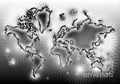 World Map Amuza In Black And White by elevencorners. World map wall print decor. #elevencorners #mapamuza