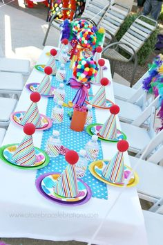 love the craft pom topiaries and clown noses on the party hats! Clown Party, Circus Carnival Party, Circus Theme Party, Carnival Birthday Parties, Circus Birthday, Birthday Bash, First Birthday Parties, Birthday Party Themes, Girl Birthday