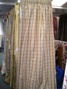 1371D Beige Check Pencil Pleat Lined Curtains with Tie Backs. :: Full Details