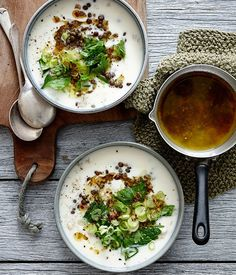 Lemon yoghurt soup with lentils, brown rice and herbs