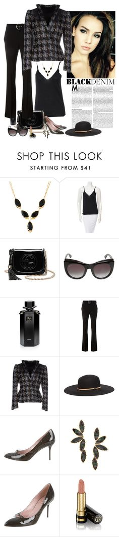 """""""Black Denim à la Gucci"""" by katiethomas-2 ❤ liked on Polyvore featuring Lana, Gucci, women's clothing, women, female, woman, misses and juniors"""