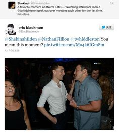 Tom and Nathan geeking out over meeting each other
