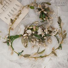 DAPHNE a french antique wedding crown made out of fabric and wax flowers and buds (+ bouquets + hair pins + veil)